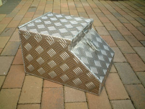 A taller version of the Chequer Plate Cubby Box made from  5 bar treadplate